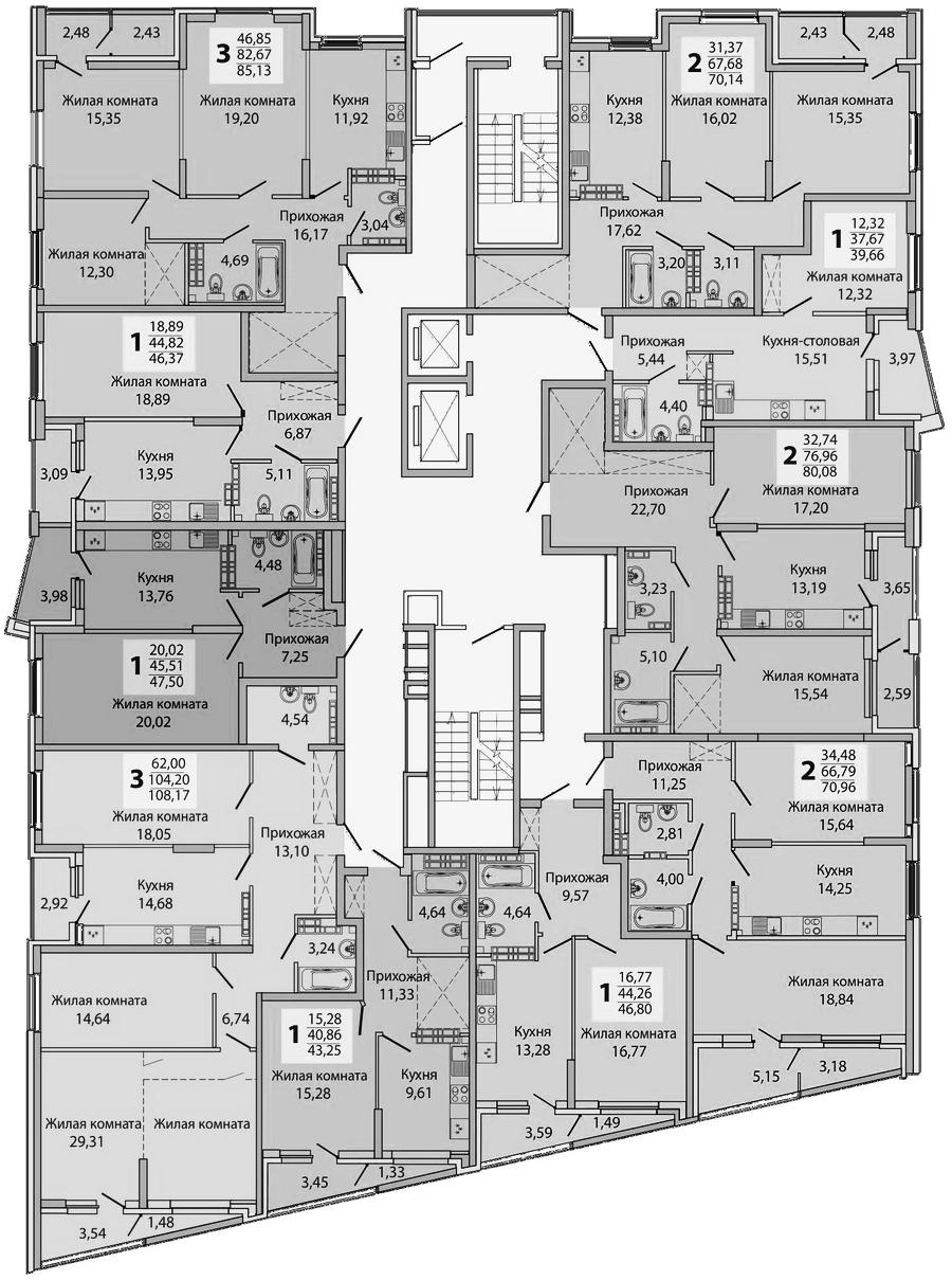 1-16 этаж